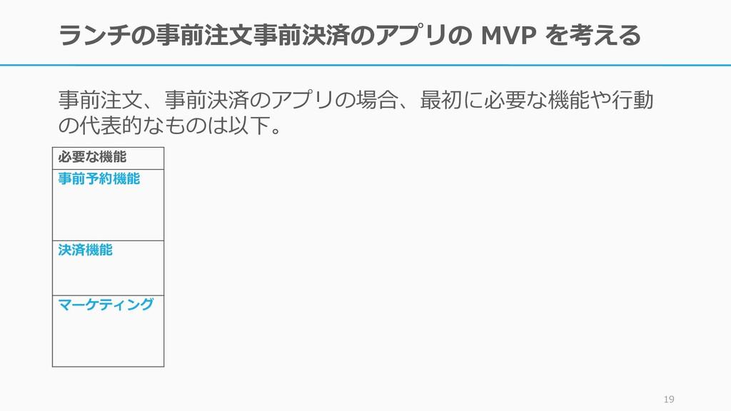 ランチの事前注文事前決済のアプリの MVP を考える 事前注文、事前決済のアプリの場合、最初に...