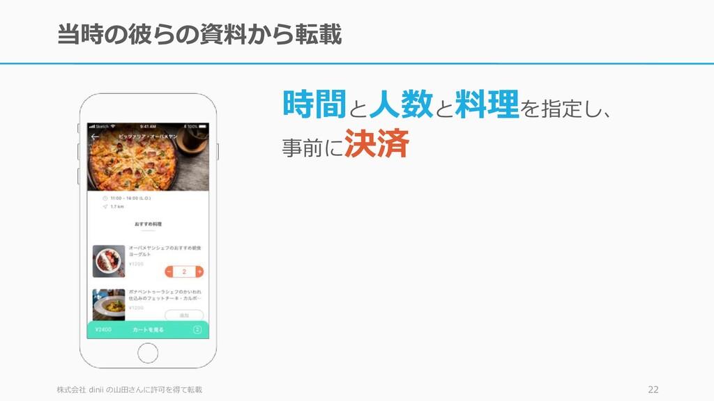 当時の彼らの資料から転載 株式会社 dinii の山田さんに許可を得て転載 22 時間と 人数...