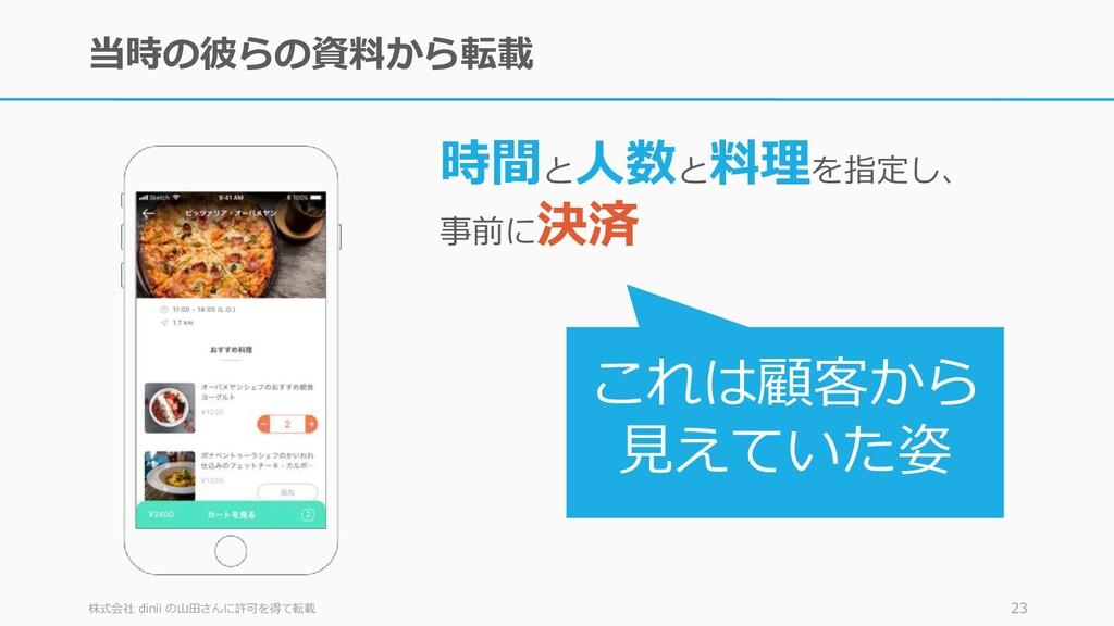 当時の彼らの資料から転載 株式会社 dinii の山田さんに許可を得て転載 23 時間と 人数...