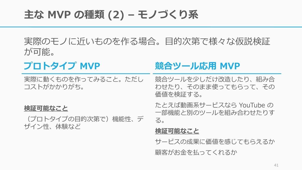 主な MVP の種類 (2) – モノづくり系 実際のモノに近いものを作る場合。目的次第で様々...