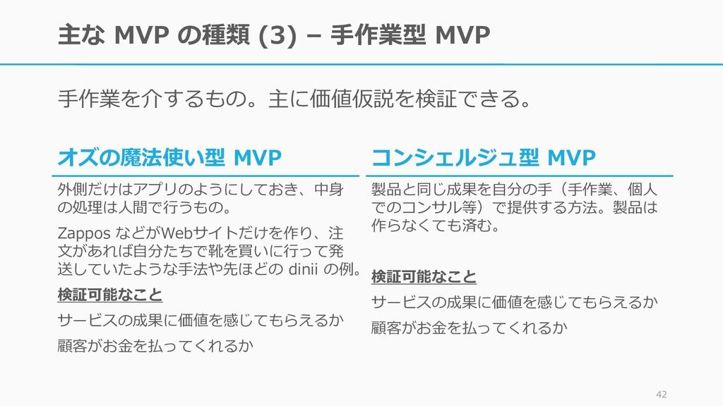 主な MVP の種類 (3) – 手作業型 MVP 手作業を介するもの。主に価値仮説を検証でき...