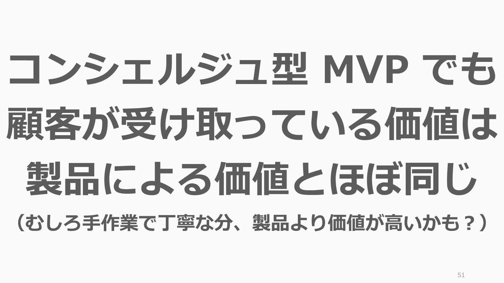 51 コンシェルジュ型 MVP でも 顧客が受け取っている価値は 製品による価値とほぼ同じ (...
