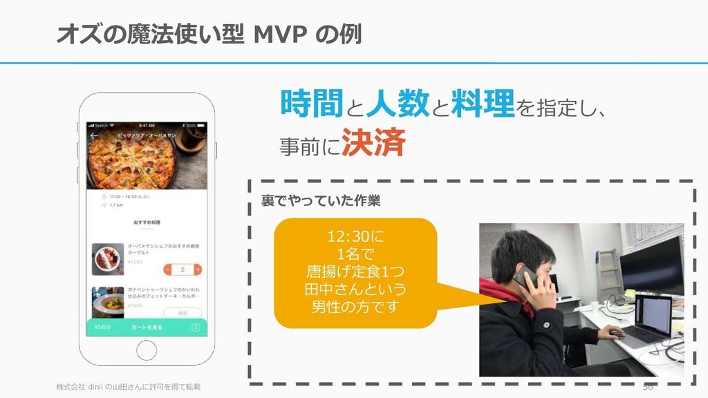オズの魔法使い型 MVP の例 株式会社 dinii の山田さんに許可を得て転載 56 時間と...
