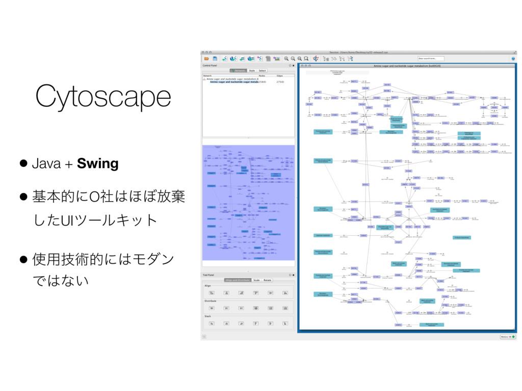 Cytoscape • Java + Swing • جຊతʹOࣾ΄΅์غ ͨ͠UIπʔϧΩ...