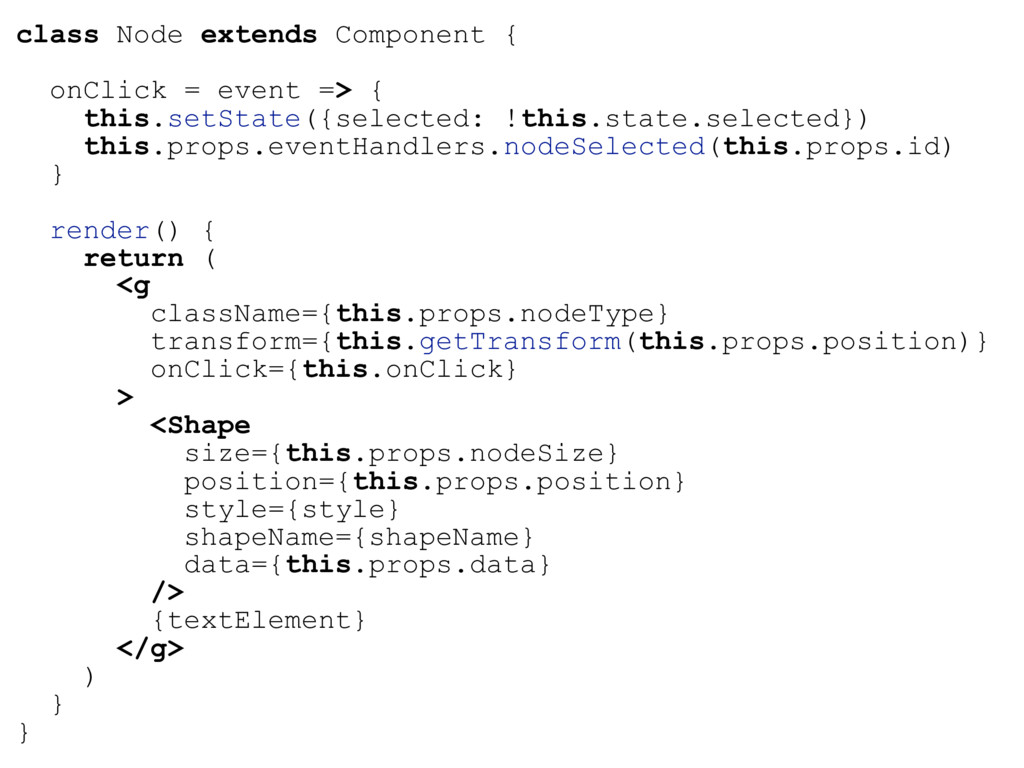 class Node extends Component { onClick = event ...