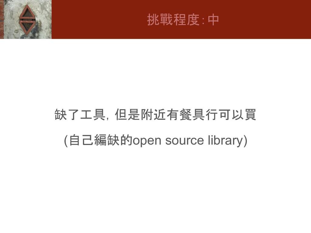 缺了工具,但是附近有餐具行可以買 (自己編缺的open source library) 挑戰程...