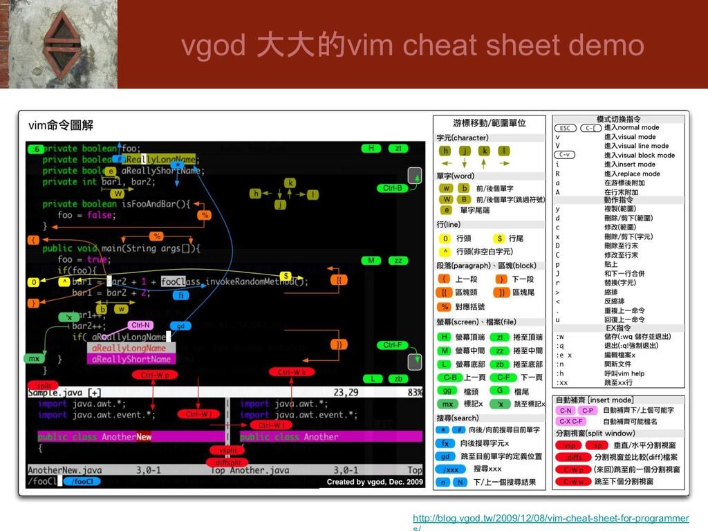 vgod 大大的vim cheat sheet demo http://blog.vgod.t...