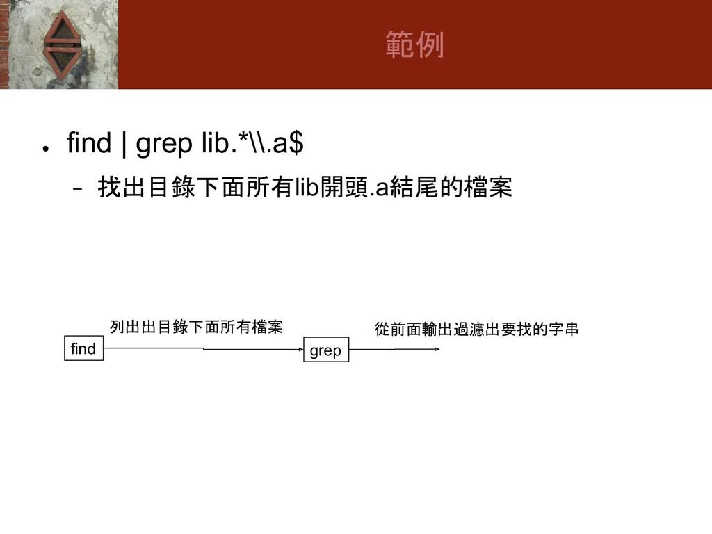 ● find | grep lib.*\\.a$ − 找出目錄下面所有lib開頭.a結尾的檔案...