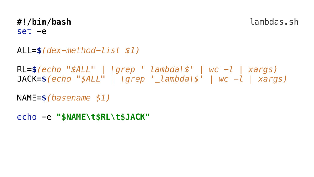 lambdas.sh #!/bin/bash