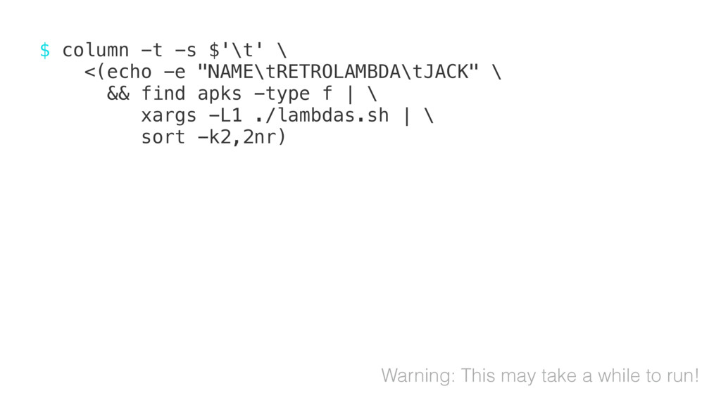 "$ column -t -s $'\t' \ <(echo -e ""NAME\tRETROLA..."