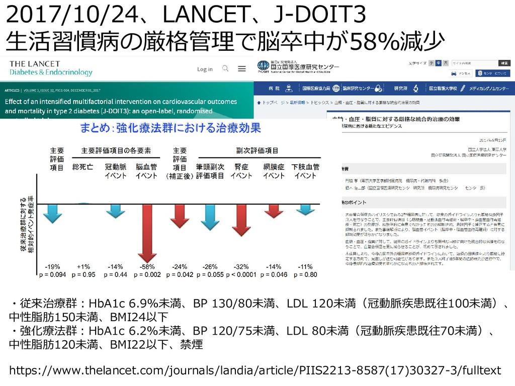 2017/10/24、LANCET、J-DOIT3 生活習慣病の厳格管理で脳卒中が58%減少 ...