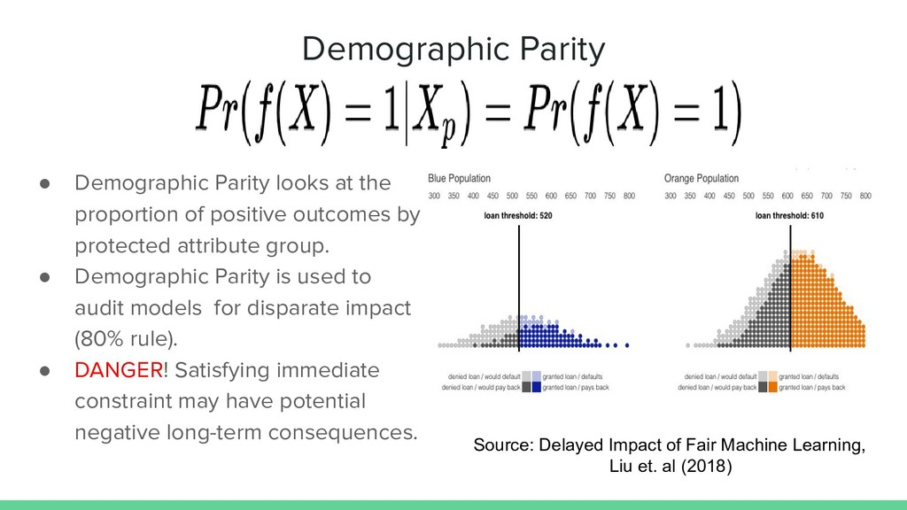 Demographic Parity ● Demographic Parity looks a...