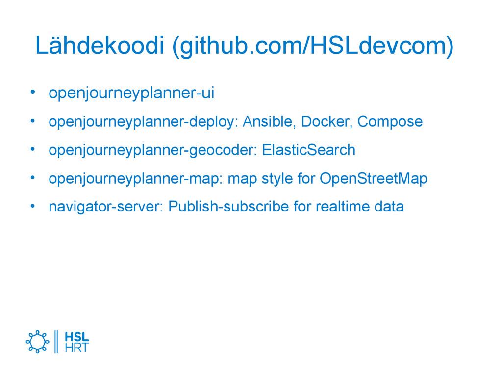 Lähdekoodi (github.com/HSLdevcom) • openjourney...