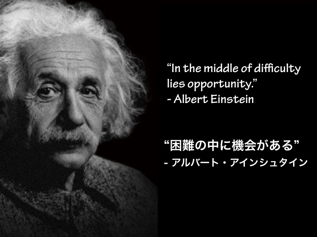 """""""In the middle of difficulty lies opportunity."""" -..."""