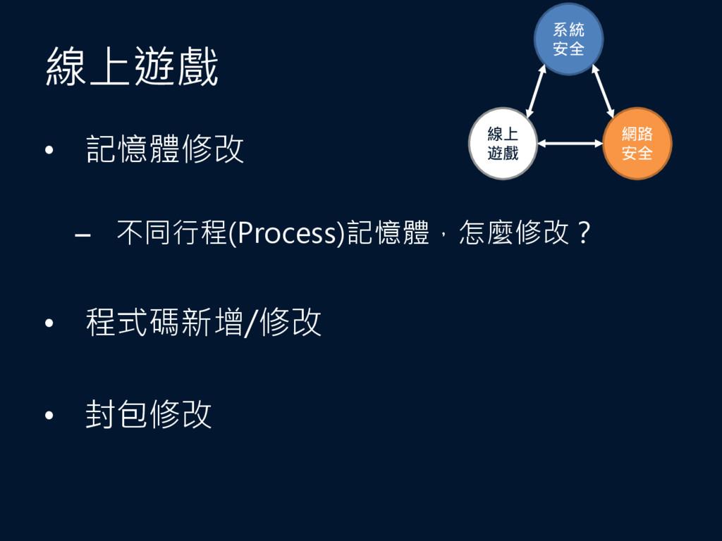 線上遊戲 • 記憶體修改 – 不同行程(Process)記憶體,怎麼修改? • 程式碼新增/修...