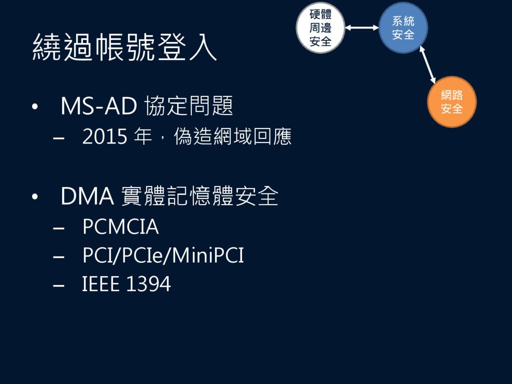 繞過帳號登入 • MS-AD 協定問題 – 2015 年,偽造網域回應 • DMA 實體記憶體...