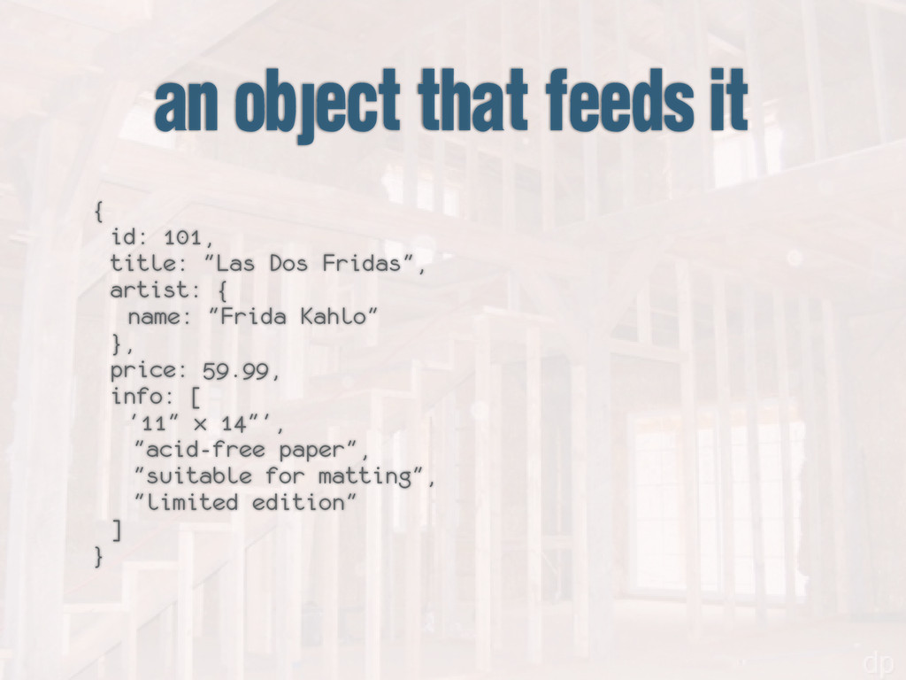 "an object that feeds it { id: 101, title: ""Las ..."
