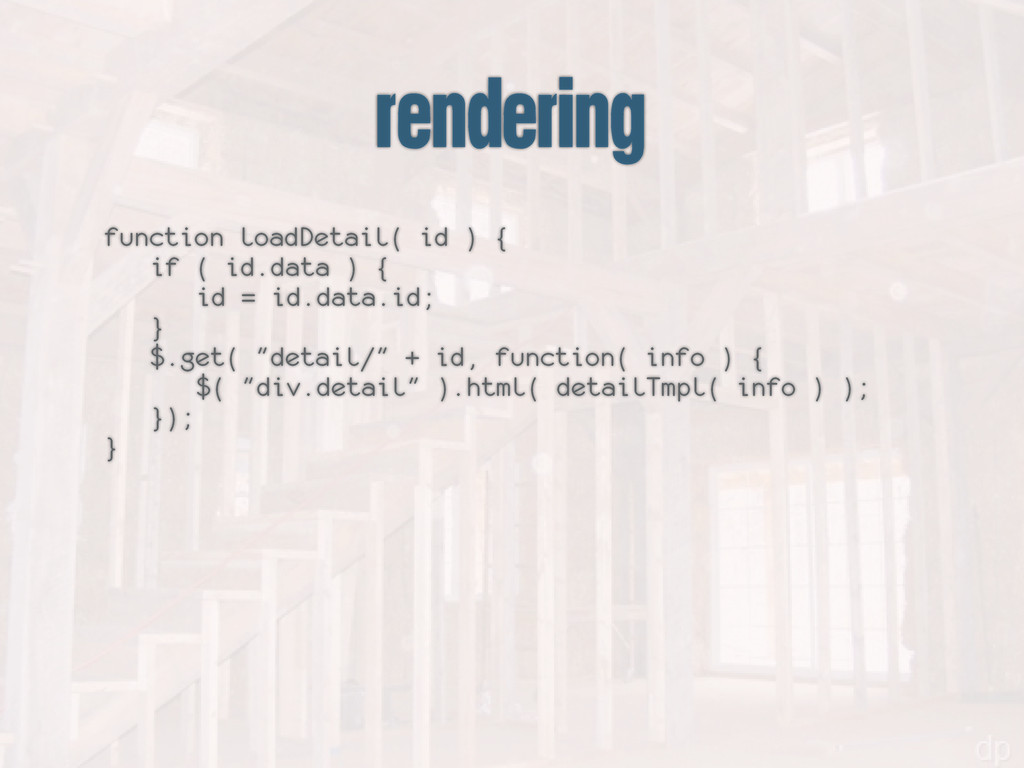 rendering function loadDetail( id ) { if ( id.d...