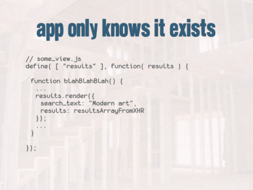 app only knows it exists // some_view.js define...