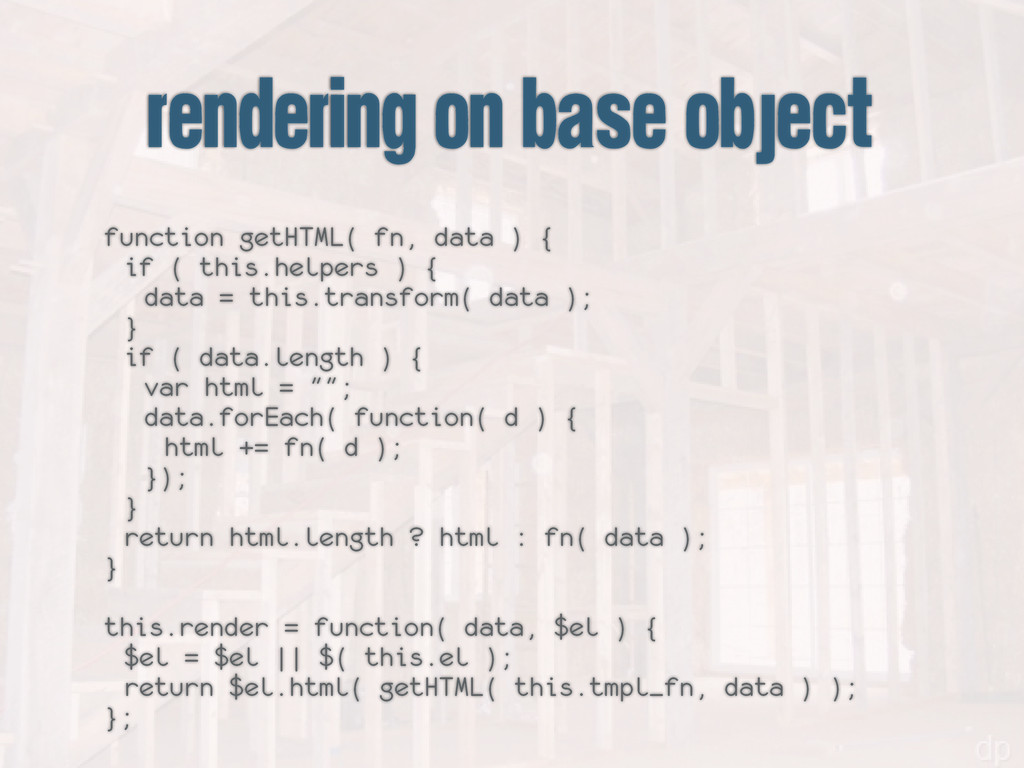 rendering on base object function getHTML( fn, ...