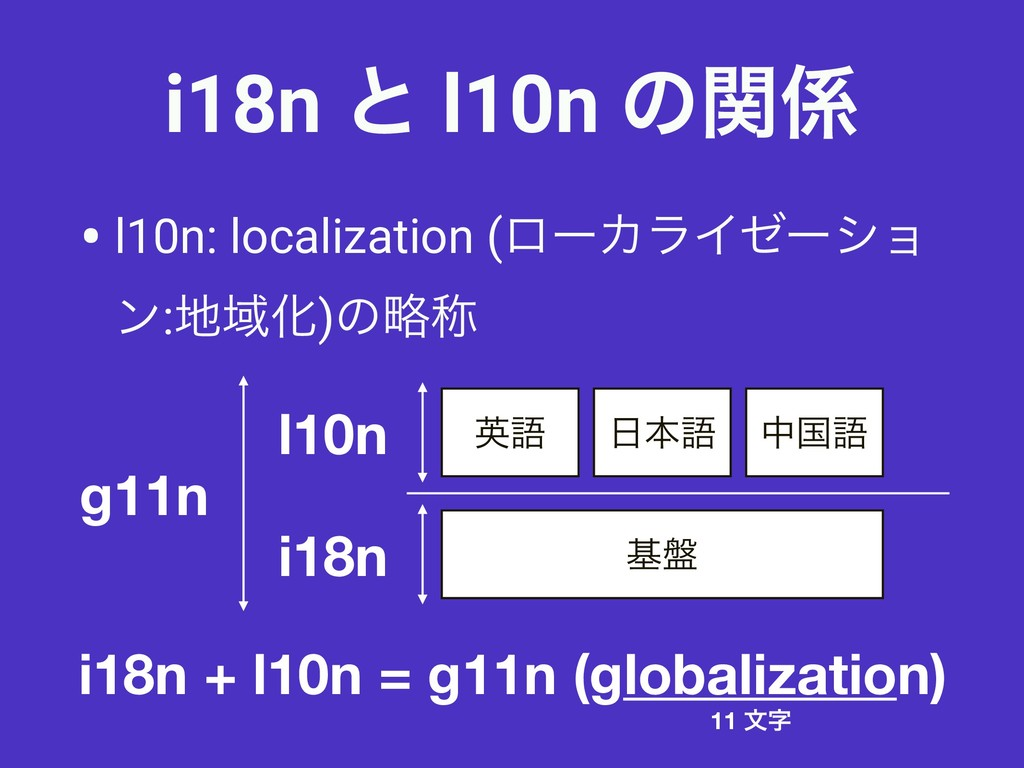 i18n ͱ l10n ͷؔ • l10n: localization (ϩʔΧϥΠθʔγϣ...
