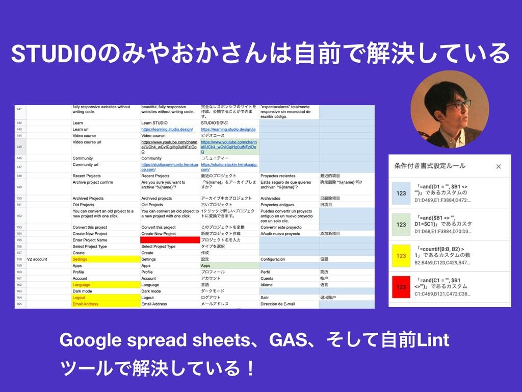 STUDIOͷΈ͓͔͞ΜࣗલͰղܾ͍ͯ͠Δ Google spread sheetsɺGA...