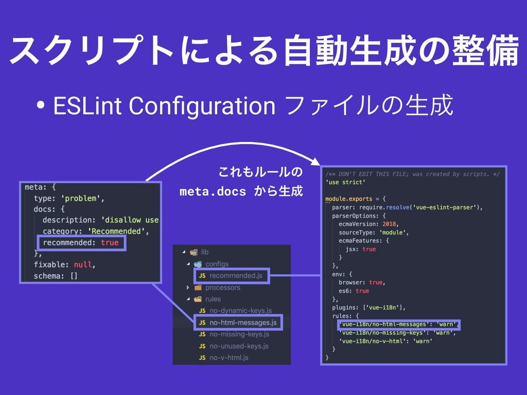 εΫϦϓτʹΑΔࣗಈੜͷඋ • ESLint Configuration ϑΝΠϧͷੜ ͜...