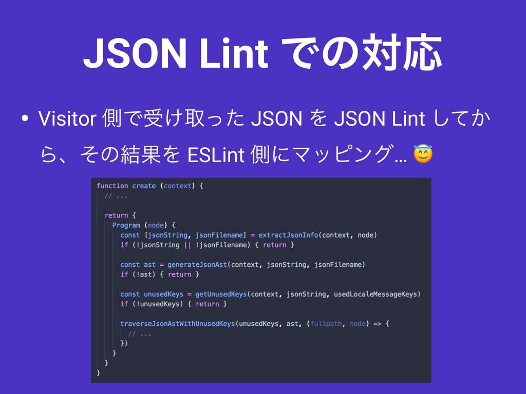 • Visitor ଆͰड͚औͬͨ JSON Λ JSON Lint ͔ͯ͠ Βɺͦͷ݁ՌΛ ...
