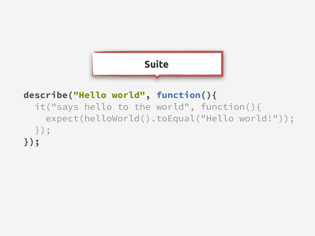 "Suite describe(""Hello world"", function(){ it(""s..."