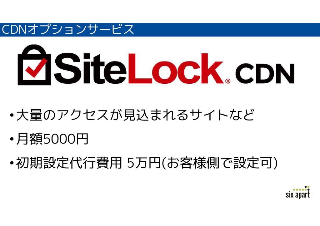 CDNオプションサービス •大量のアクセスが見込まれるサイトなど •月額5000円 •初期設定...