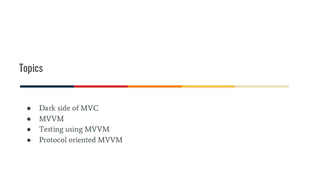Topics ● Dark side of MVC ● MVVM ● Testing usin...