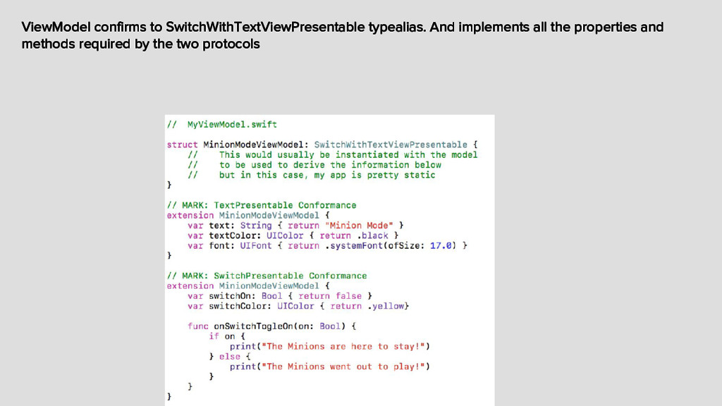 ViewModel confirms to SwitchWithTextViewPresent...