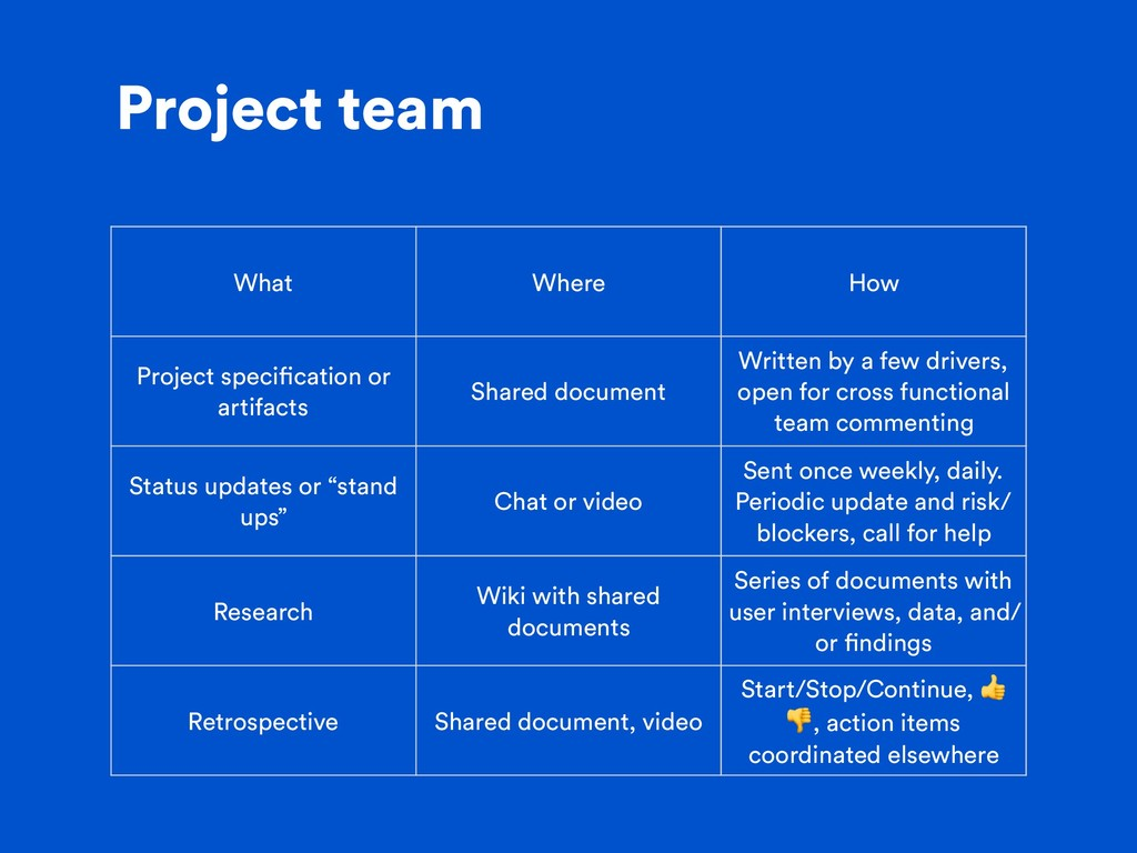 Project team What Where How Project specificati...