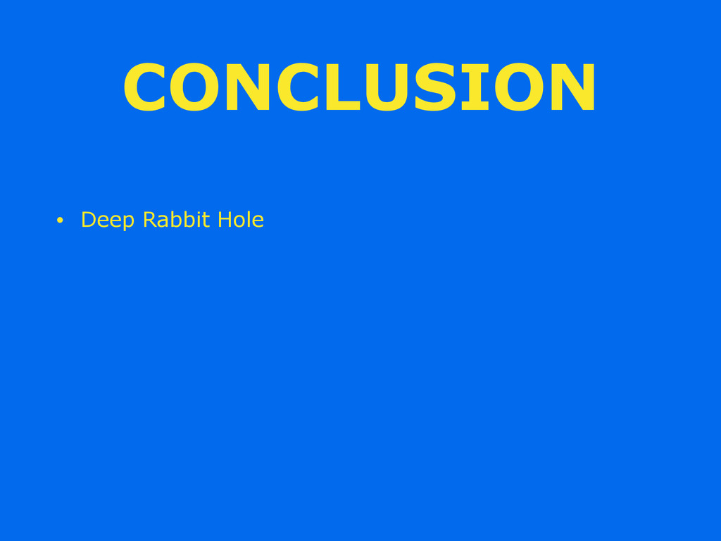 CONCLUSION • Deep Rabbit Hole