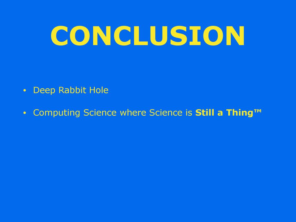 CONCLUSION • Deep Rabbit Hole • Computing Scien...
