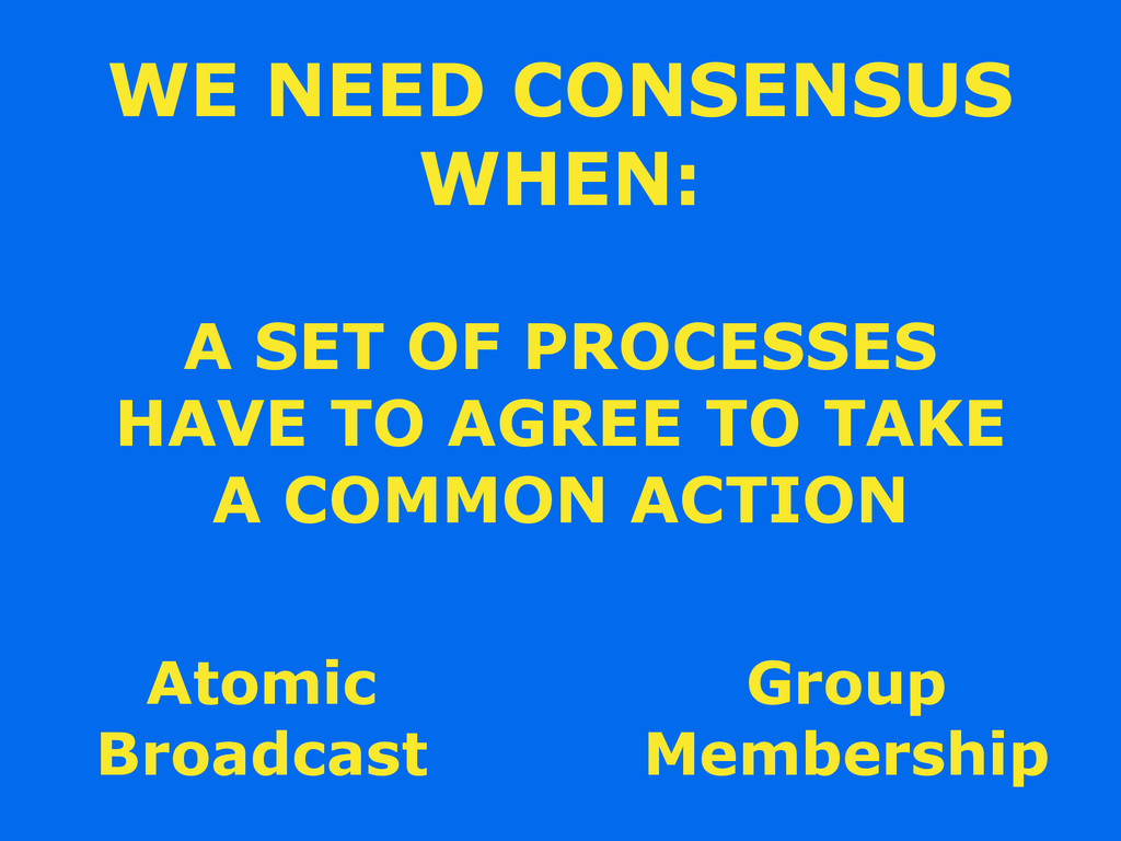 WE NEED CONSENSUS WHEN: A SET OF PROCESSES HAVE...