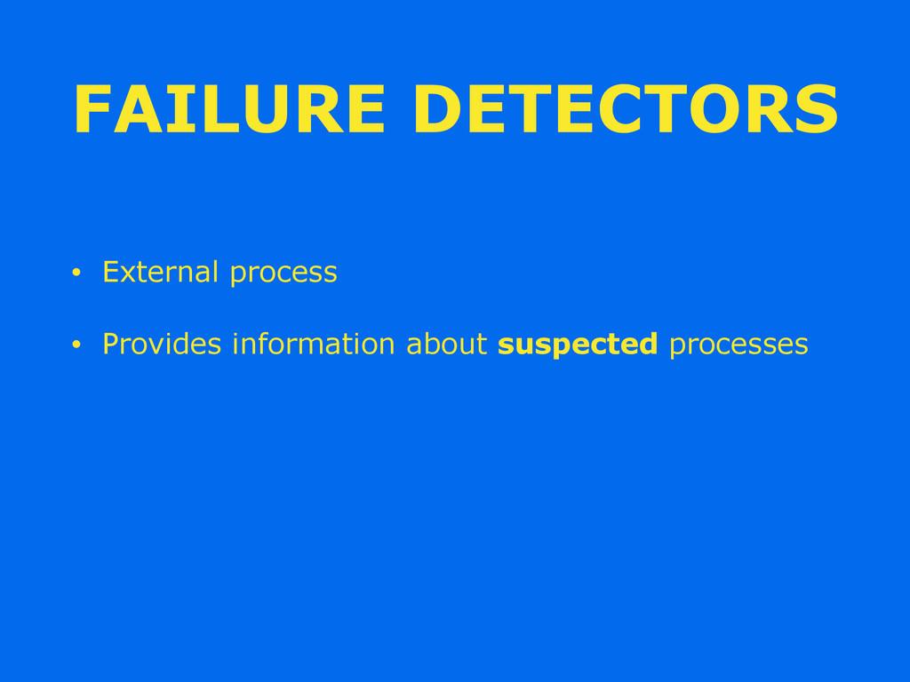 FAILURE DETECTORS • External process • Provides...
