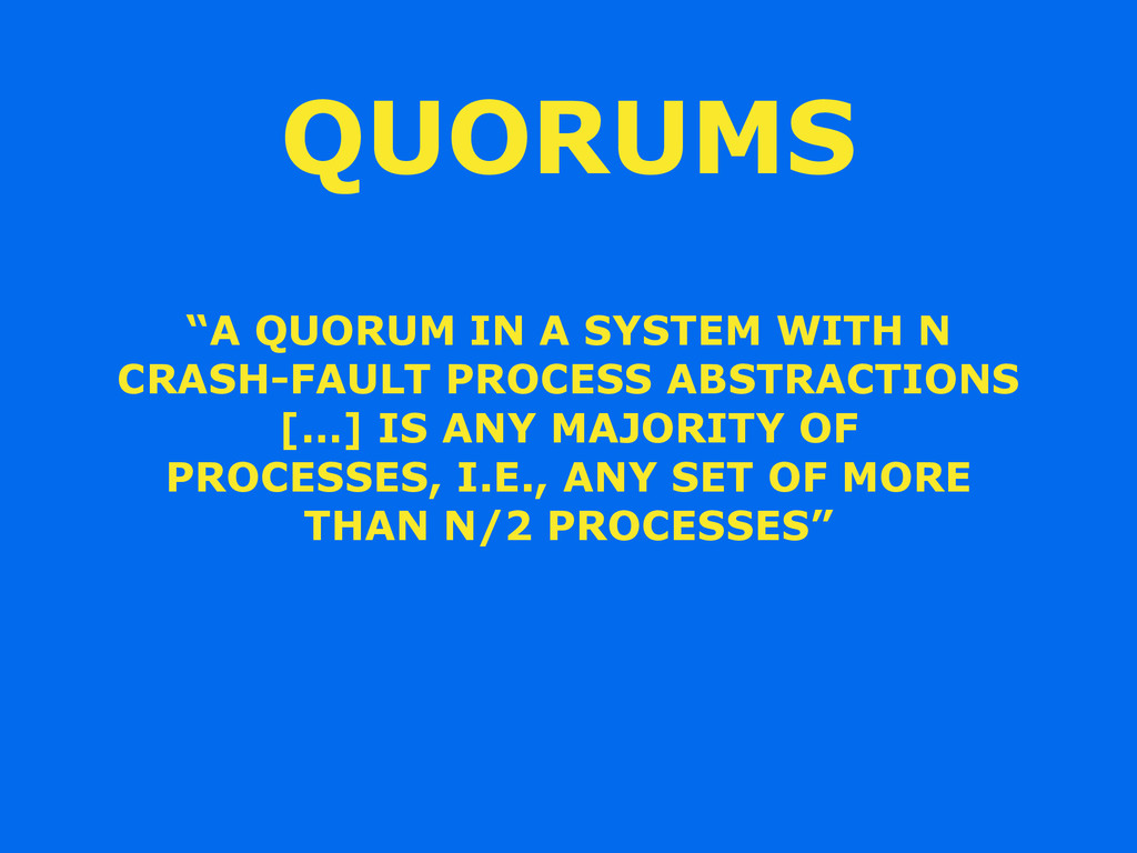 """A QUORUM IN A SYSTEM WITH N CRASH-FAULT PROCES..."