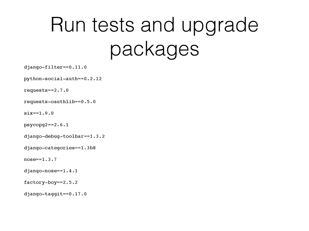 Run tests and upgrade packages django-filter==0...