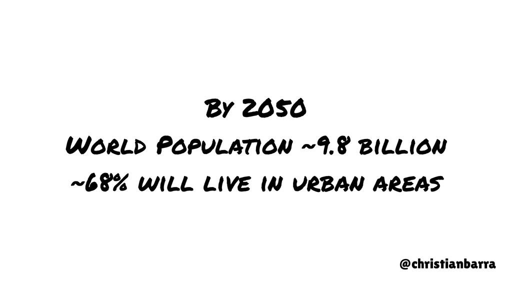 By 2050 World Population ~9.8 billion ~68% will...