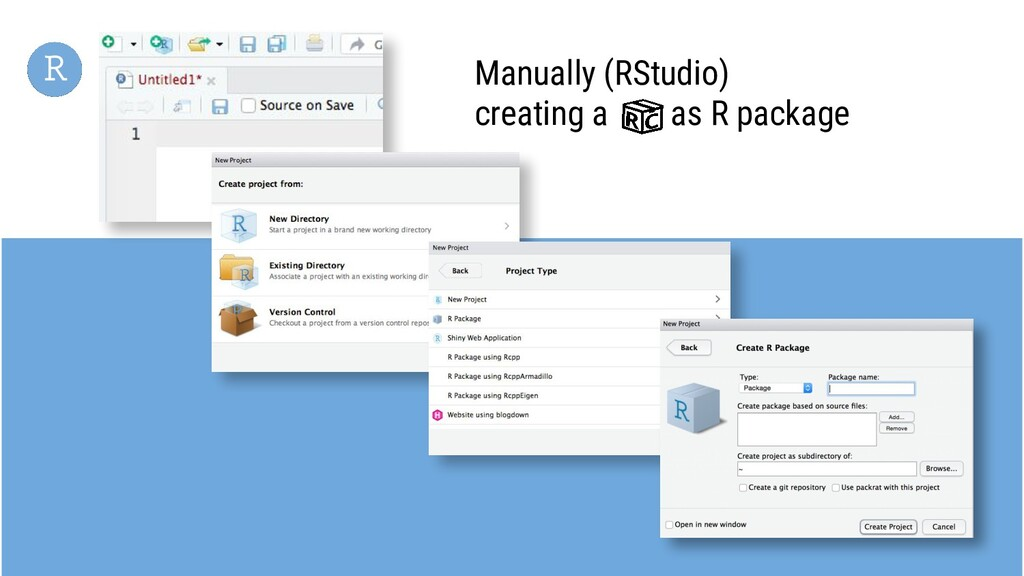 Manually (RStudio) creating a as R package