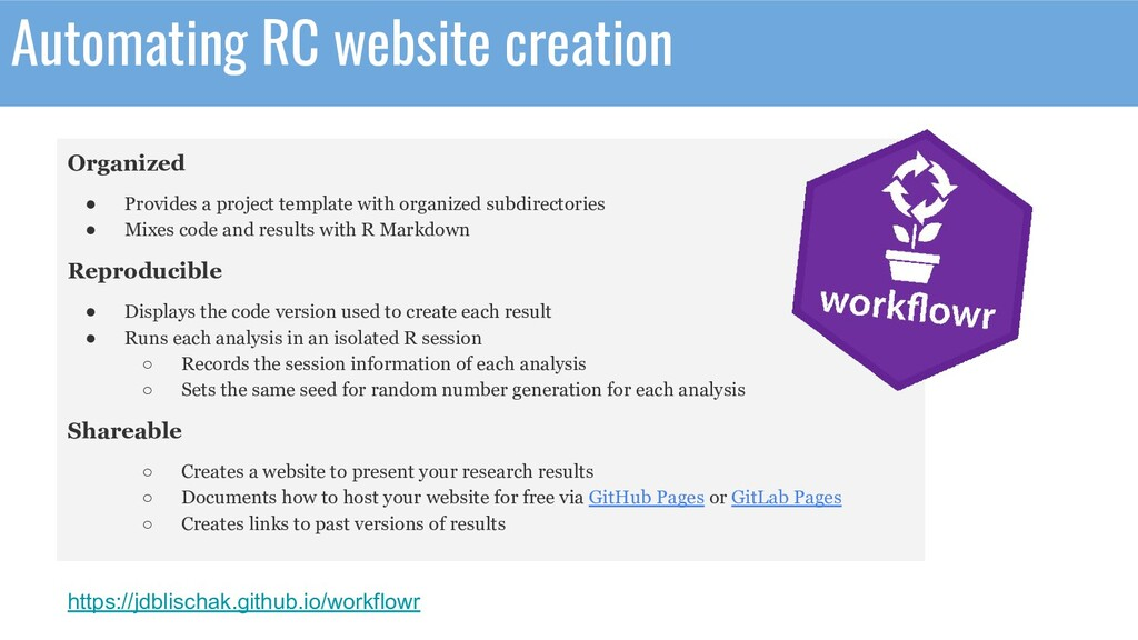 Automating RC website creation Organized ● Prov...