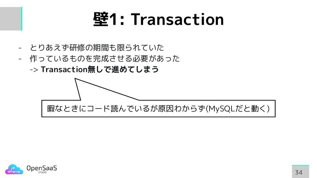 壁1: Transaction - とりあえず研修の期間も限られていた - 作っているものを完...