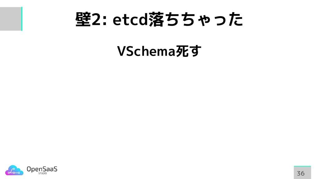 壁2: etcd落ちちゃった VSchema死す 36 36