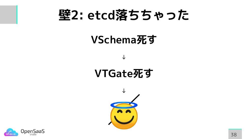壁2: etcd落ちちゃった VSchema死す ↓ VTGate死す ↓  38 38