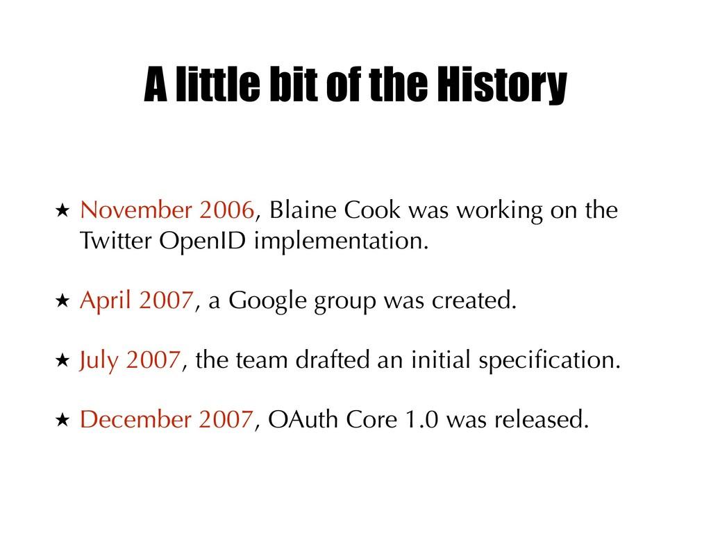 A little bit of the History ★ November 2006, Bl...