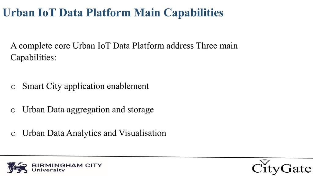 Urban IoT Data Platform Main Capabilities A com...