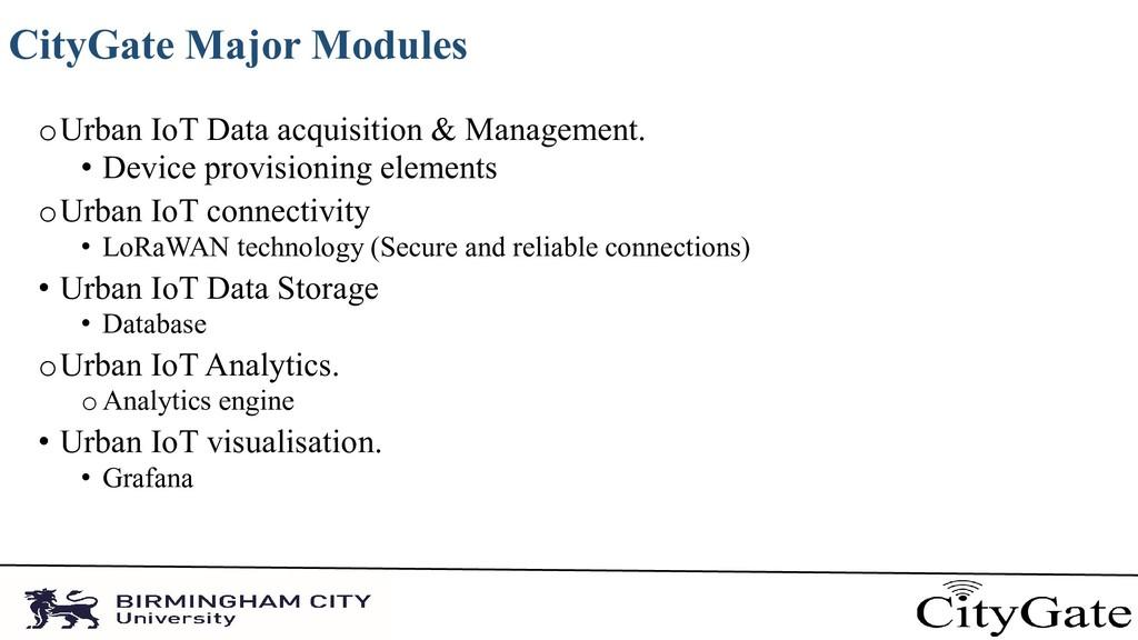 CityGate Major Modules oUrban IoT Data acquisit...