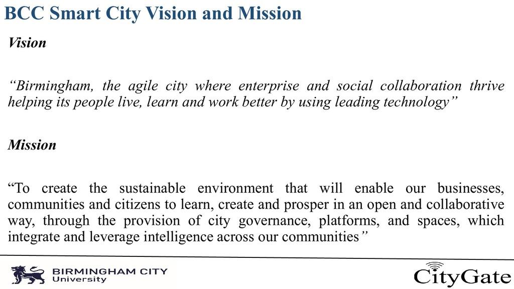 "BCC Smart City Vision and Mission Vision ""Birmi..."