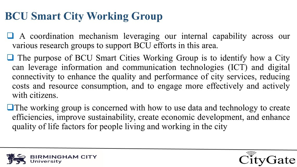 BCU Smart City Working Group  A coordination m...